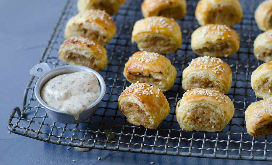 Homemade Sausage Rolls with Honey Mustard Dip